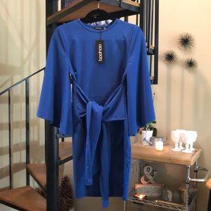 Boohoo Kimono Sleeve Tie Waist Wrap Dress